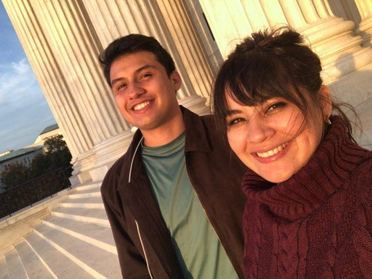 Mario Montoya and Reyna Montoya stand in front of the Supreme Court in Washington, D.C. on Nov. 11, 2019. The Montoyas are siblings and DACA recipients who represent the community organization Aliento, which aims to empower immigrants through artmaking, leadership training and educational workshops.