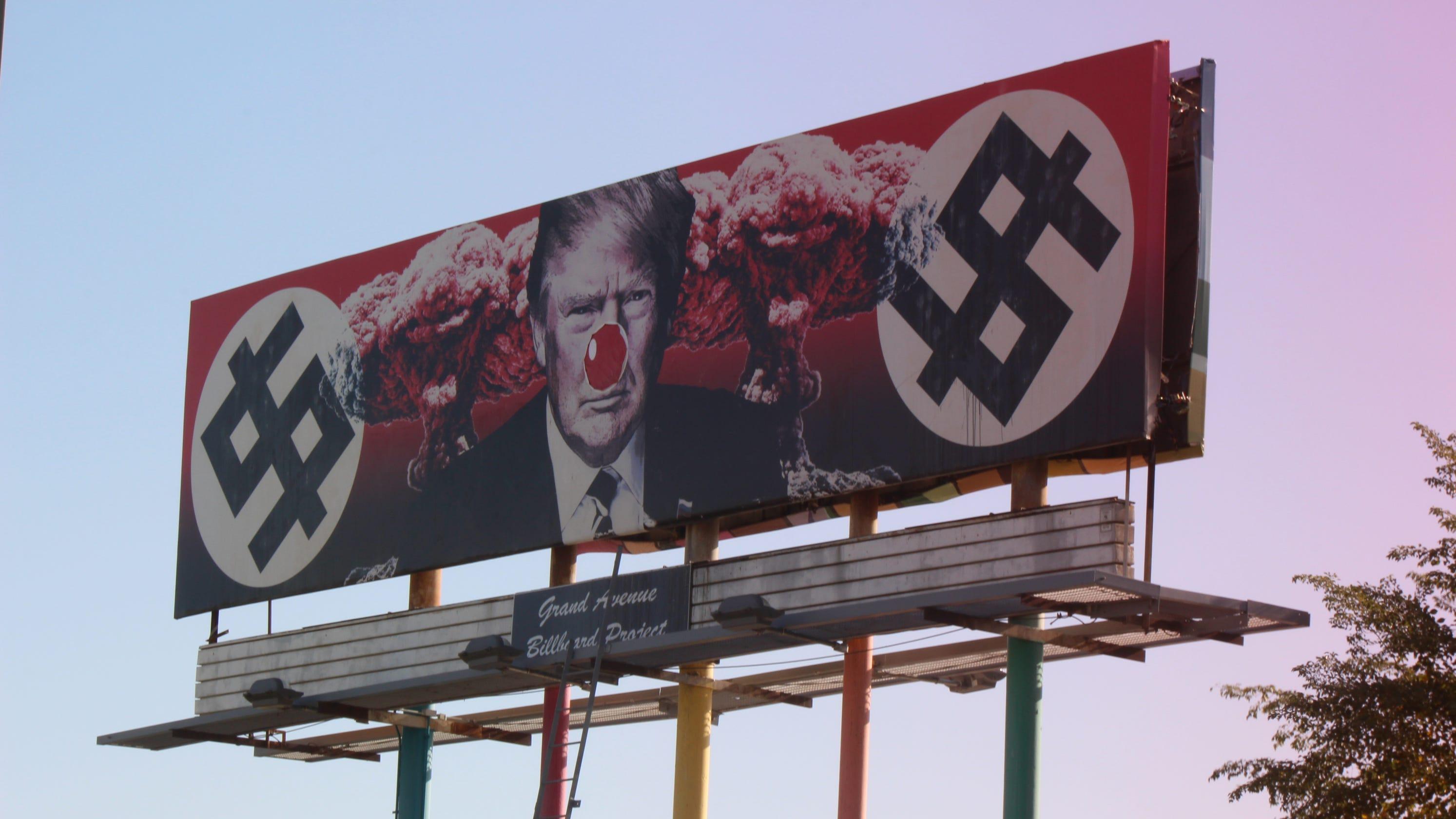<b>Donald Trump billboard in downtown Phoenix now features clown nose</b>