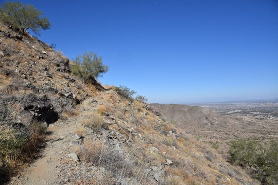 An edge-hugging section of the Ranger Trail in South Mountain Park in Phoenix.