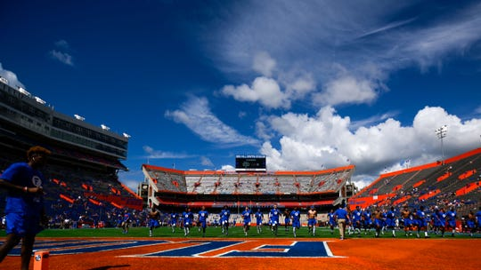 General view of the stadium as Florida Gators players warm up at Ben Hill Griffin Stadium.