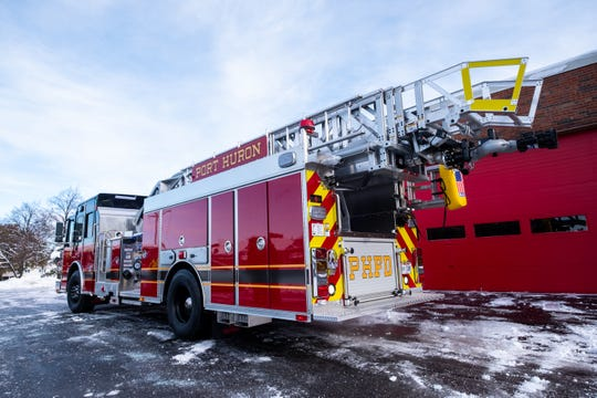 Port Huron Fire Department had a new 75-foot ladder truck built, pictured Tuesday, Nov. 12, 2019 in the department's central station in Port Huron. The department hopes to have the truck in-service early December.