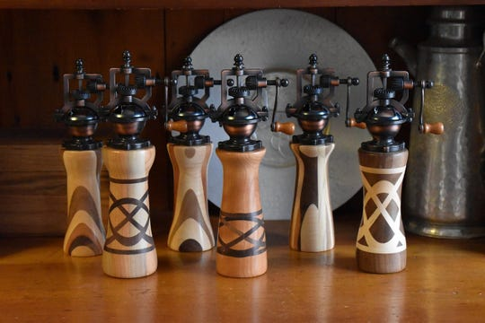 Steampunk-inspired pepper grinders by Peter Brown are in stock at Dutchess Handmade.