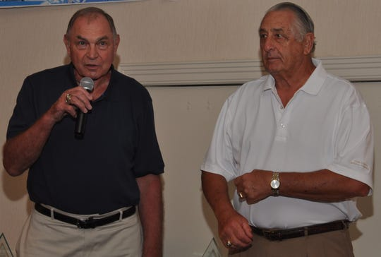 George Tarasovic, left, and Eddie Khayat, right, are seen here in a file photo. They are the founders of a celebrity golf tournament to benefit York County Special Olympics. The event is held each June at Out Door Country Club. The 2020 event was canceled because of the coronavirus pandemic. The event was renamed to honor Tarasovic and Khayat a few years ago. Tarasovic died last year at age 89.