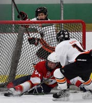 Central York's Benjamin Kasper follows the puck and shoots for a goal against West Shore goalie Mike Daily, Monday, November 11, 2019. John A. Pavoncello photo
