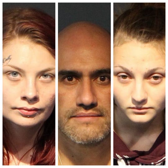 A photo of Ciara Miller, 23, (left); Saul Zelaznog,43; and Cierra Marie Pangborn, 25. All three were arrested in connection to a kidnapping and robbery case on Saturday, Nov. 9, 2019.