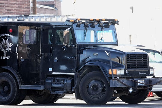 A photo showing a vehicle belonging to the Reno Police Department's SWAT Team. The vehicle is seen near Valley Road and East Fifth Street during a standoff that ended in several arrests on Saturday, Nov. 9, 2019.