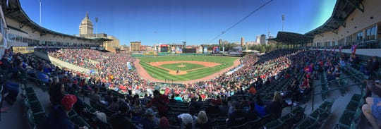 A picture perfect day, with temps in the mid 50's for the Red Wings home opener against Syracuse Friday, April 14, 2017 at sunny, and packed Frontier Field.