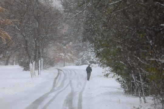 A jogger runs through Seneca Park in Rochester as snow falls.