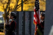 The North Salem High School JROTC posts the colors for a Veterans Day celebration hosted by the Oregon Department of Veterans' Affairs at the Oregon WWII Memorial in downtown Salem on Nov. 11, 2019.
