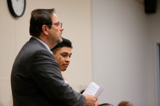 Murder suspect Jonathan Salazar, 20, appears alongside his attorney Ronald Soltesz at the first hearing since Salazar allegedly escaped the Monterey County Jail and was arrested at the border trying to return to the United States from Mexico last week.