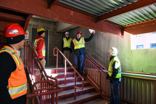 Senior project manager Tony Wiseman says that windows will be installed throughout the stairwells during a tour of the in-progress downtown parking ramp on Tuesday, Nov. 12, in Sioux Falls.