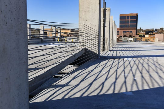 Steel cables reinforce the top level of the downtown parking ramp on Tuesday, Nov. 12, in Sioux Falls.