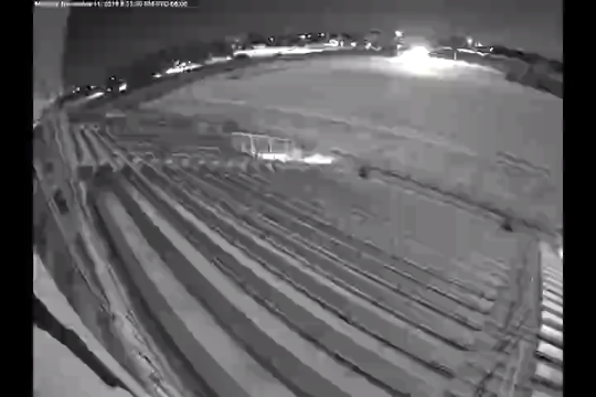 This surveillance video appears to catch a meteor near Willard on Monday evening.