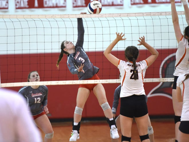 Gracie Fulton goes on the attack in Riverheads' sweep of Altavista in the Region 1B volleyball semifinals