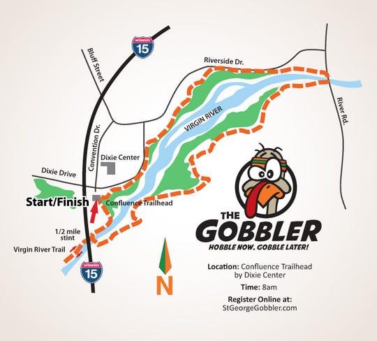 The map for The Gobbler race on Thanksgiving Day, Nov. 28, 2019.