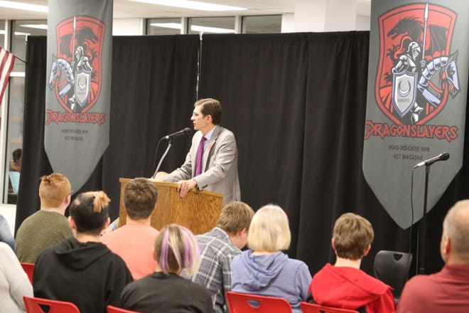 Neil Walter speaks at a town hall held at St. George Academy on Nov. 11, 2019.