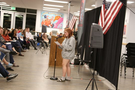 EmaRose Waletzko speaks about her experiences as a St. George Academy student during a town hall on Nov. 11, 2019.