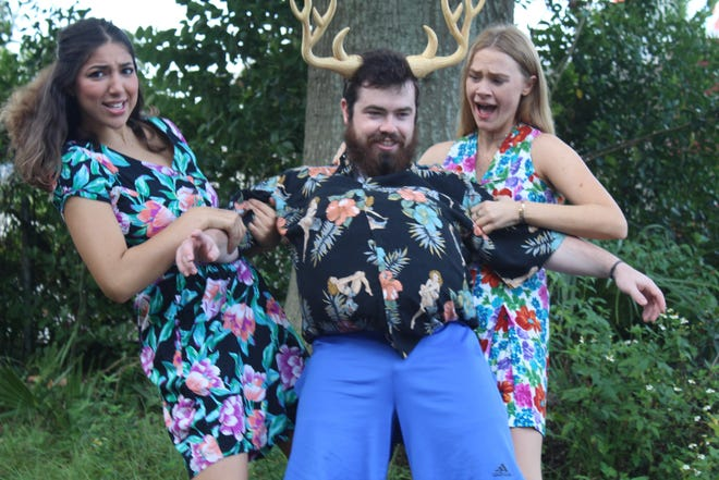 """Mrs. Page (Andii Sajid, left) and Mrs. Ford (Caitlin Kirk, right) struggle to keep drunken Falstaff upright (Grant Brecheisen, middle) in """"Sir John Falstaff and the Merry Wives of Windsor."""""""