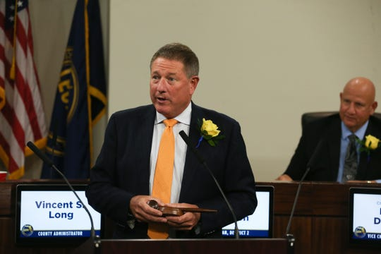 Newly-elected and sworn-in Leon County Commission Chairman Bryan Desloge gives a speech after taking an oath to assume the position Tuesday, Nov. 12, 2019.