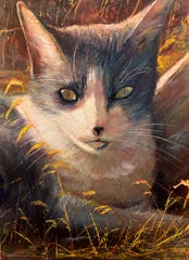 """""""Susie,"""" 24x36, and five other paintings by artist Dean Gioia of his beloved cats, as well his landscapes of wild Florida, will be auctioned off to raise funds for St. Francis Wildlife."""