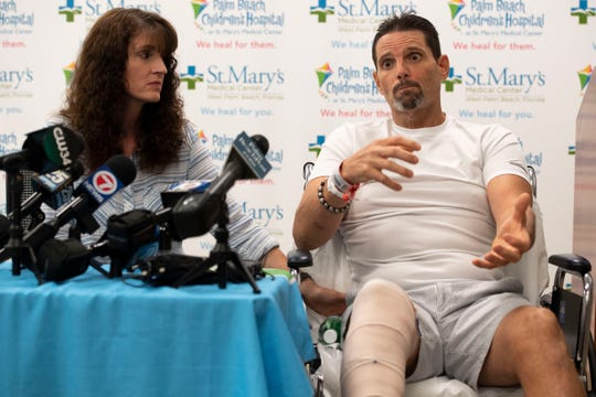 """""""I was in the middle of the swamp bleeding to death,"""" says James Boyce, of Palm Beach Gardens, as he retells his near-death experience from an alligator bite three days earlier, next to his wife Terisa Boyce on Tuesday, Nov. 12, 2019, at St. Mary's Medical Center in West Palm Beach. """"It was a nightmare,"""" James Boyce said, recalling how a 10-foot alligator bit him in the leg while he was hunting. """"He was crushing my leg, bam, bam, bam."""" Three hours after the bite, the Boyce's landed at St. Mary's Medical Center, where Dr. Jorge Vega, Jr. operated on and saved his leg."""
