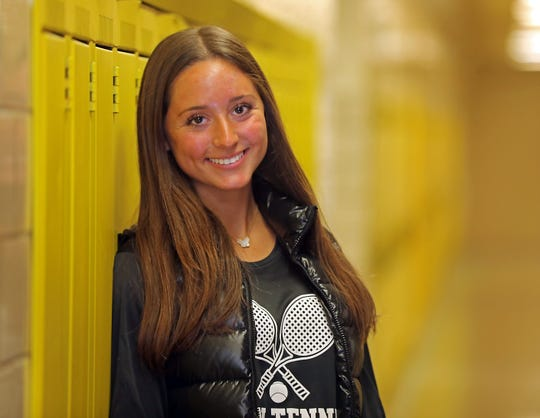 Clarkstown North tennis player Sydney Miller, who is a three-time Journal News Rockland girls tennis player of the year is the latest Rockland Scholar-Athlete. Miller was photographed at Clarkstown North High School on Nov. 12, 2019.