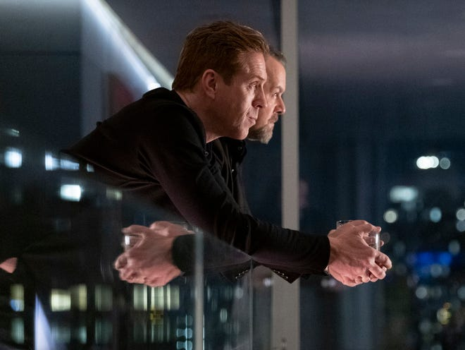 "Damian Lewis as Bobby ""Axe"" Axelrod and David Costabile as Mike ""Wags"" Wagner an episode of  ""Billions"" fourth season."