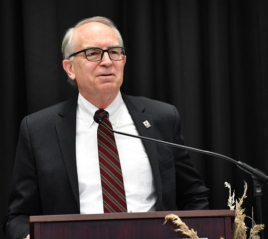 Jeff Moseley speaks during the 29th annual Wichita Falls Chamber of Commerce Economic Forum Tuesday at the Ray Clymer Exhibit Hall. Moseley is the CEO of the Texas Association of Business.