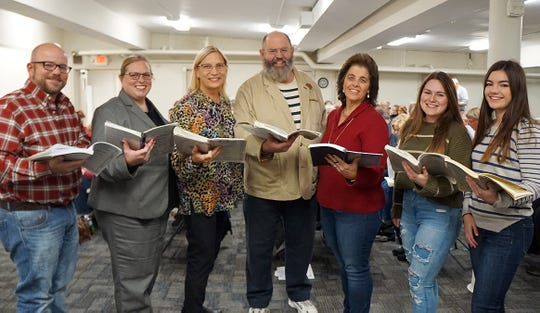 The Zanesville Civic Chorus practices together and in sections each Monday beginning in late September until they perform in December each year. The arrangement for the performance is quartets or small groups with multiple parts. Members of one of groups are, from left, Shannon Davis, Kelly Wright, Beth Fineran, Jim Fineran, Robin Rozsa, Emma Gross and Megan Judson.