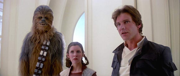 Chewbacca, Princess Leia, and Han Solo in The Empire Strikes Back