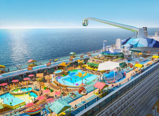 Royal Caribbean's Odyssey of the Seas won't be complete until April 2021. The new ship features a two-level pool deck, including a sky ride that gives passengers a bird's-eye view.