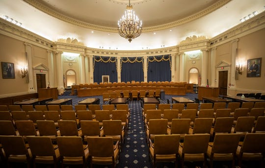 The largest House hearing room in Washington on Nov. 12, 2019, a day before the first public session on the Trump impeachment begins there.