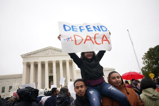 Immigration rights activists take part in a rally in front of the U.S. Supreme Court in Washington, D.C., on November 12, 2019.