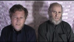 A screen grab of video released on Jan. 11, 2017, by the Taliban of Australian Timothy Weeks, left, and American Kevin King.