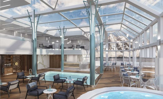 Guests on the Crystal Endeavor can lounge around an indoor pool between expeditions.