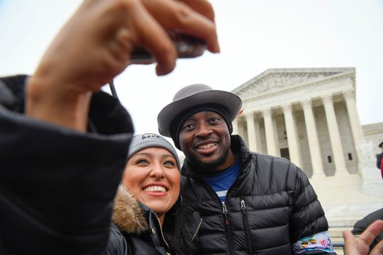 DACA recipient and actor Bambadjan Bamba, best known for his roles in The Good Place and the blockbuster movie Black Panther, after speaking to a gathered crowd outside of the U.S. Supreme Court as the court hears arguments on whether the 2017 Trump administration decision to end the Deferred Action for Childhood Arrivals program (DACA) is lawful.