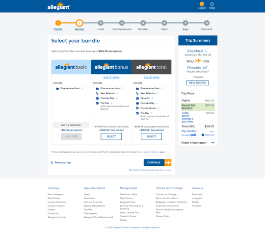 Allegiant now offers three ticket options on its website, two with a bundle of perks sold at a discount.