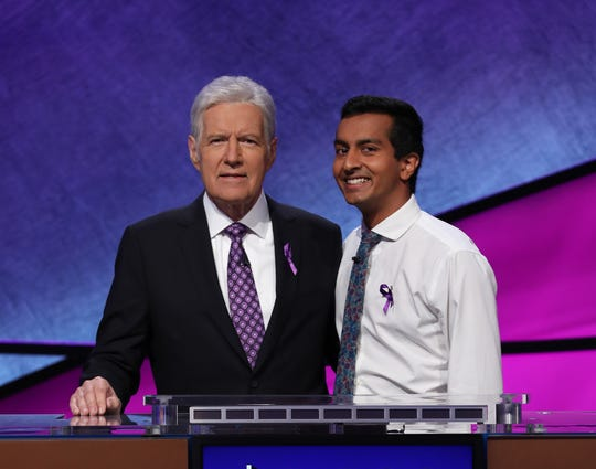 "Alex Trebek and Dhruv Gaur during the ""Jeopardy!"" Tournament of Champions quarterfinal match."