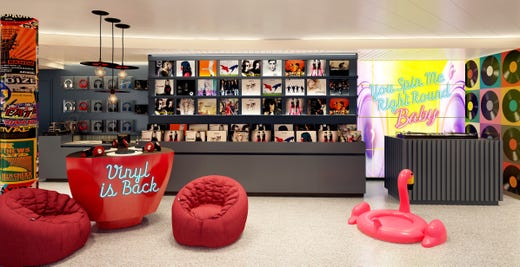Record store lovers will feel like they're back in a Virgin Music superstore when they step into Scarlet Lady's vinyl record shop, the first such boutique on a cruise ship.