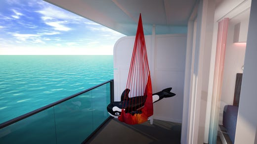 "Playful features on Virgin Voyage's adults-only Scarlet Lady include hammocks with ""terrace"" staterooms."