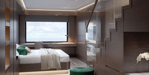 The Evrima also offers a 2-story loft suite with the sleeping chamber on the lower level.