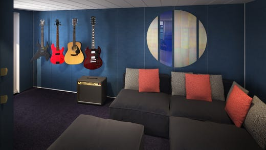The fanciest RockStar Suites on Scarlet Lady come with a music room stocked with guitars and an amp.