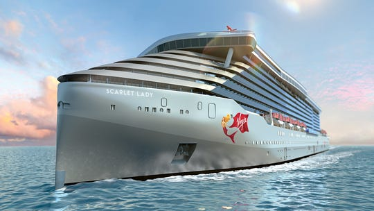 Even the sleek façade of Virgin Voyages' Scarlet Lady is meant to turn heads.