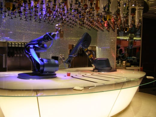 Among the high-tech features on Odyssey of the Seas are robot bartenders, which were first introduced on Quantum of the Seas.