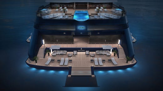 Hangout spaces aboard the Evrima include five restaurants, an infinity pool and a humidor lounge stocked with premium, hand-rolled cigars.