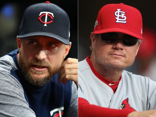 Minnesota's Rocco Baldelli and St. Louis' Mike Shildt.