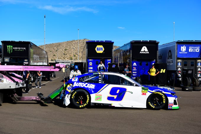 Nov. 10: The No. 9 Chevrolet driven by Chase Elliott (not pictured) is towed back to the garage area following a crash during the Bluegreen Vacations 500 at ISM Raceway in Avondale, Arizona.
