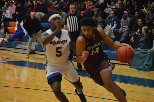 Centenary's Ty Prince (14) goes for two points against Louisiana College Tuesday.