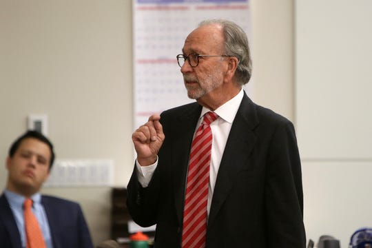 Steven D. Altman, defense attorney, makes his opening statement during the trial of Alexandra Mansonet, who is charged with vehicular homicide for allegedly texting and driving, before Superior Court Judge David F. Bauman at Monmouth County Courthouse in Freehold, NJ Wednesday, November 13.