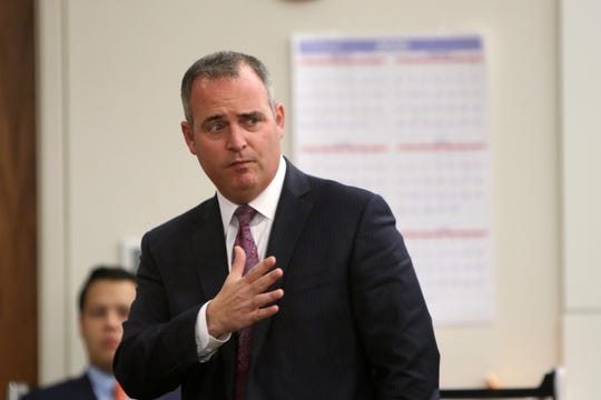 Christopher Decker, Monmouth County assistant prosecutor, makes his opening statements during the trial of Alexandra Mansonet, who is charged with vehicular homicide for allegedly texting and driving, before Superior Court Judge David F. Bauman at Monmouth County Courthouse in Freehold, NJ Wednesday, November 13.